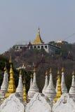 Mandalay hill. Golden pagoda on Mandalay hill stock photo