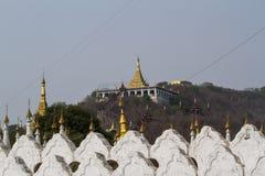 Mandalay hill. Golden pagoda on Mandalay hill stock photos