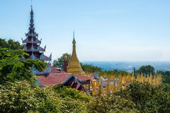 Mandalay Hill, Myanmar (Burma. View of a nice set of of temples, shrines and it's stupas all over Mandalay Hill royalty free stock photos