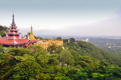Mandalay Hill in Myanmar. Mandalay Hill is a major pilgrimage site in Myanmar Stock Image