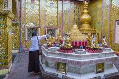Mandalay Hill Myanmar. MANDALAY , MYANMAR - SEP 03 : Interior of temple on the Mandalay Hill in Myanmar on September 03 2017 , Mandalay Hill is a major Stock Photos