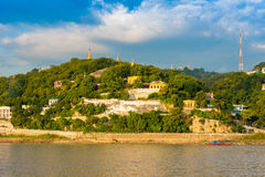 MANDALAY, MYANMAR - DECEMBER 1, 2016: Golden Pagodas in Sagaing hill, Burma. Copy space for text. Royalty Free Stock Photography