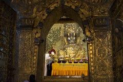 MANDALAY, MYANMAR - MAY 4, 2017: Face washing ceremony of Mahamuni Buddha, Mandalay, Myanmar Royalty Free Stock Image