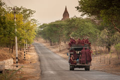 MANDALAY, MYANMAR, MAY 4: unidentified Burmese monks in a truck Royalty Free Stock Photo