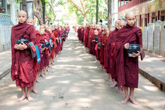 MANDALAY, MYANMAR-MAY 2 : Young unidentified buddhist novices at Royalty Free Stock Photo
