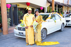 MANDALAY, MYANMAR - November 15, 2015 :Burmese couple wear traditional clothes in a traditional wedding event Royalty Free Stock Images