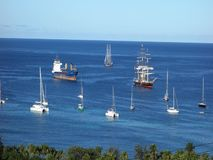 The mandalay sailing into bequia harbor stock footage