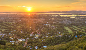 Mandalay seen from hill at sunset, Burma Royalty Free Stock Photos