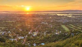 Mandalay seen from hill at sunset, Burma Royalty Free Stock Photos