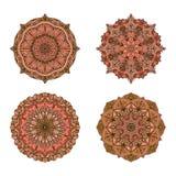 mandale di vettore Insieme colorato della mandala Ornamento rotondo orientale elemento asiatico di progettazione Immagini Stock