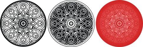 Mandals цветка для книжка-раскраски сделайте по образцу кругом иллюстрация штока