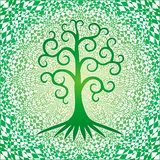 The tree in of life against the square background of the openwork mandala in green colors. stock illustration