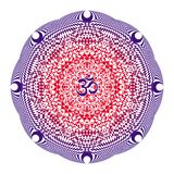 Mandala in Red and purple colors on a white background with aum / ohm / om sign in the center. Vector openwork drawing. Spiritual royalty free illustration