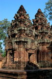 Mandapa and central tower. The mandapa  and central tower in Banteay Srei Stock Photo