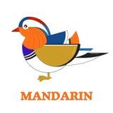Mandarín Duck Geometric Flat Icon Imagen de archivo libre de regalías