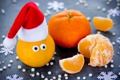 Mandarijn met ogen in Kerstmanhoed, het Nieuwjaar van Kerstmiskerstmis concep Royalty-vrije Stock Fotografie
