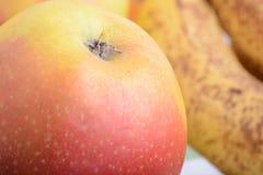 Mandarin, bananas and apples, fresh food close up Stock Photos
