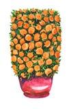 Mandarin boom met rijpe vruchten in rode die pot in de vorm van een cilinder wordt geschoren stock illustratie