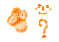 Mandarin. Brushed slices of mandarin, smiley peel, question mark, Collage of three photos, isolated on white background Stock Photo