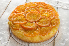 Mandarin cake. Homemade mandarin upside down cake Stock Images