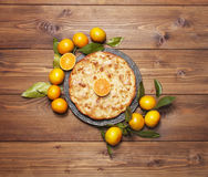 Mandarin cake with tangerines stock photos