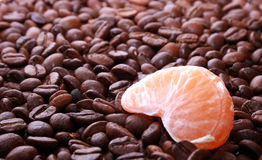 Mandarin with a coffee Royalty Free Stock Image