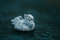 Mandarin duck stone figure. Figure made of Inkerman white stone. Mandarin duck stone figure. Figure made of Inkermane stone Stock Photos