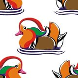Mandarin ducks pattern. Pattern of orange ducks on white background Stock Image