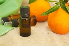Mandarin essential oil Stock Images