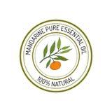Mandarin, essential oil label, aromatic plant Stock Photo