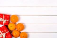 Mandarin för julgåvaaskar arkivfoto