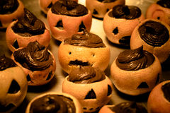 Mandarin halloween. A mandarin with chocolate on halloween theme Stock Image