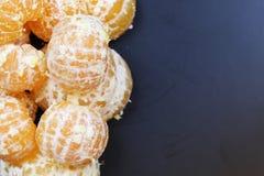 Mandarin het fruit isoleert zwarte Stock Fotografie