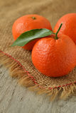 Mandarin. On a jute napkin Royalty Free Stock Photos