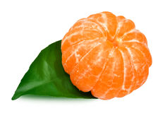 Mandarin with leaf Stock Photo