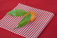 Mandarin and leaf Stock Image
