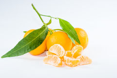 Mandarin with leaf Royalty Free Stock Image
