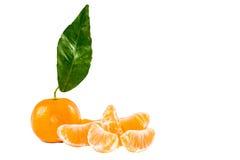 Mandarin with leaf Royalty Free Stock Image