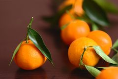 Mandarin with leaves. On the table Stock Photo