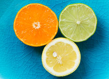 Mandarin, lemon, and green lime slices  Stock Photo