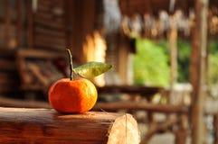 Mandarin met blad Stock Afbeeldingen