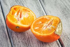 Mandarin with mould. On white wooden boards Stock Photo