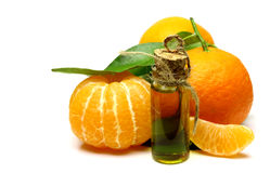 Mandarin natural oil isolated on white background. stock photography