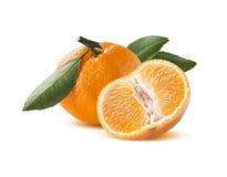 Mandarin and one half  on white background Stock Photos