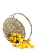 Mandarin orange in a basket. On white background Royalty Free Stock Image