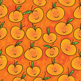 Mandarin orange cartoon seamless pattern Stock Photos