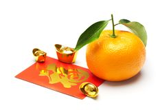 Mandarin orange, chinese gold and red packet Royalty Free Stock Photos