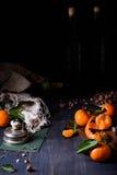 Mandarin orange garden fruit, nuts and wine, dark romantic background. Close up. Royalty Free Stock Image