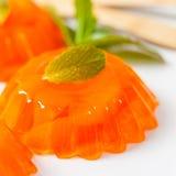 Mandarin Orange Jelly Desserts. Mandarin Orange Tangerine Jelly. Selective focus stock photography