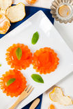 Mandarin Orange Jelly. Summer Holiday Desserts. Selective focus stock images